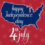 Inscripción Día de la Independencia 4 de julio y mapa felices de los Estados Unidos de América Fotos de archivo libres de regalías