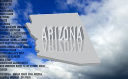 Inscripción de Arizona en el primer del fondo del cielo libre illustration