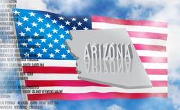 Inscripción de Arizona en fondo de la bandera americana libre illustration