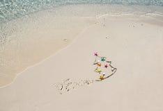 Inscripción 2016 de la escritura en la playa Imágenes de archivo libres de regalías