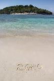 Inscripción 2016 de la escritura en la playa Fotografía de archivo