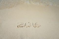 Inscripción 2016 de la escritura en la playa Imagenes de archivo
