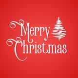Inscripción de la Feliz Navidad Fondo rojo y árbol dibujado mano entintado blanco Fotos de archivo libres de regalías