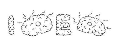 Inscripción de la idea basada en mirada de la convolución del cerebro del cerebro ilustración del vector