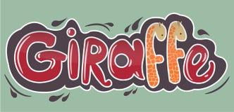 Inscripción de la jirafa en letras rojas con las jirafas stock de ilustración
