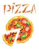 Inscripción de la pizza y del estilo de la pizza, Imagenes de archivo
