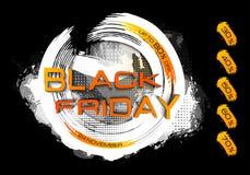 Inscripción de la venta de Black Friday en manchas abstractas Bandera de viernes Venta y descuento Ilustración del vector Imagenes de archivo