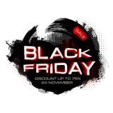 Inscripción de la venta de Black Friday en manchas abstractas Bandera de viernes Venta y descuento Ilustración del vector Imagen de archivo libre de regalías
