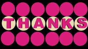 Inscripción de las gracias animada con rosa y los conos beige en el fondo negro, animación del outro 3d ilustración del vector