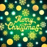 Inscripción de las letras de la mano de la Feliz Navidad en fondo del modelo de Navidad con los círculos del oro y copos de nieve Imágenes de archivo libres de regalías