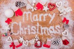 Inscripción de los Años Nuevos de la Navidad en el fondo Fotografía de archivo libre de regalías