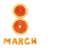 Inscripción 8 de marzo anaranjado Fotos de archivo libres de regalías