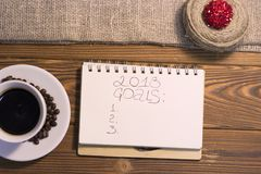 inscripción de 2018 metas en un cuaderno Fotografía de archivo