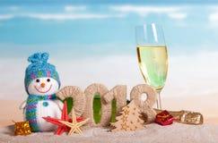 Inscripción 2018 del Año Nuevo, botella y vidrio de champán, snowma Foto de archivo