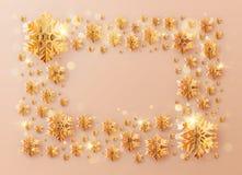 Inscripción del marco de la plantilla de la Navidad adornada con los copos de nieve color de rosa de la hoja de oro EPS 10 stock de ilustración