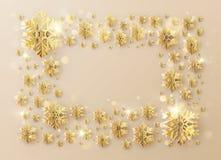 Inscripción del marco de la plantilla de la Navidad adornada con los copos de nieve de la hoja de oro EPS 10 stock de ilustración