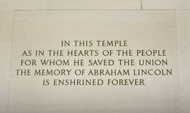 Inscripción del monumento de Lincoln fotos de archivo