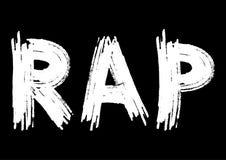 Inscripción del rap en un fondo negro Mancha el cepillo blanco Imagen de archivo libre de regalías