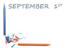 Inscripción el 1 de septiembre Imágenes de archivo libres de regalías