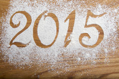 inscripción 2015 en el de madera Fotografía de archivo