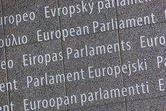 Inscripción en el edificio del Parlamento Europeo - Bruselas Bélgica foto de archivo