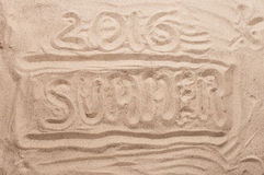 Inscripción en el verano 2016 de la arena Imágenes de archivo libres de regalías