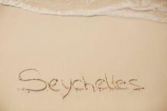 Inscripción en la playa del Océano Índico Fotos de archivo