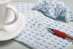 Inscripción en una servilleta Imagen de archivo