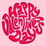 Inscripción feliz del día de tarjeta del día de San Valentín Imagen de archivo libre de regalías