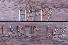 Inscripción feliz del Día del Trabajo Fotos de archivo
