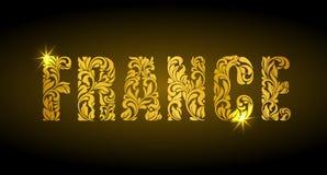 Inscripción Francia del modelo decorativo floral Cartas de oro Foto de archivo