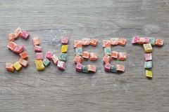 Inscripción hecha por los dulces orientales Dulces turcos foto de archivo