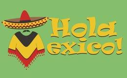Inscripción hola México del vector La letra M bajo la forma de mexicano en sombrero y poncho ilustración del vector