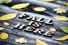 inscripción La caída está aquí, las letras de madera Capítulo de hojas amarillas, fondo de madera Imagenes de archivo