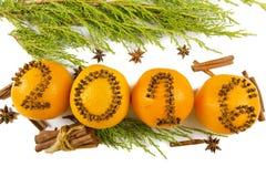 Inscripción 2016 a las naranjas Foto de archivo libre de regalías