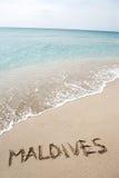 Inscripción Maldives Fotos de archivo libres de regalías