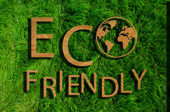Inscripción respetuosa del medio ambiente en la hierba verde Fotografía de archivo libre de regalías