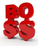 Inscripción roja Boss Imágenes de archivo libres de regalías