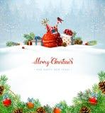 Inscripción roja de la caligrafía de la Feliz Navidad Símbolos festivos en el fondo del día de fiesta Imagenes de archivo