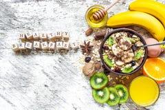 Inscripción sana del desayuno con oatmea de la fruta Imagen de archivo