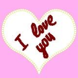Inscripción te amo de los corazones en un fondo rosado Fotografía de archivo