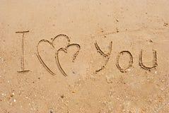 Inscripción te amo y corazones conectados Fotografía de archivo libre de regalías