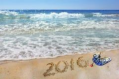 Inscripción 2016 y mar, verano Fotografía de archivo