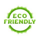 Inscripción amistosa de Eco con el marco del círculo hecho de la hierba aislada en el fondo blanco Fotografía de archivo libre de regalías