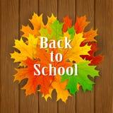 Inscripción de nuevo a escuela y hojas de arce en fondo de madera Foto de archivo