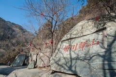 Inscripciones antiguas de la roca en la montaña de Tai Shan, China Imagen de archivo
