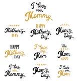 Inscripciones de las letras de la mano del día de madres fijadas Imágenes de archivo libres de regalías