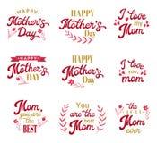 Inscripciones de las letras de la mano del día de madres fijadas Fotos de archivo