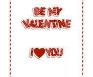 Inscripciones del día de tarjeta del día de San Valentín Foto de archivo