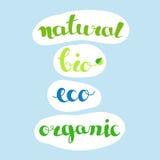 Inscripciones - naturales, bio, eco, orgánico Cultive los productos frescos y naturales o las etiquetas de las comidas Foto de archivo